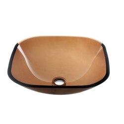 DAWN GVB84010SQ 16-1/4 INCH SQUARE BROWN TEMPERED GLASS VESSEL SINK