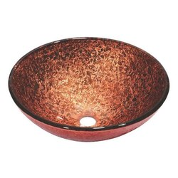 DAWN GVB86131 16-1/2 INCH ROUND PINK AND BROWN TEMPERED GLASS VESSEL SINK
