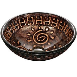 DAWN GVB86153 16-1/2 INCH ROUND COPPER AND GOLD TEMPERED GLASS VESSEL SINK