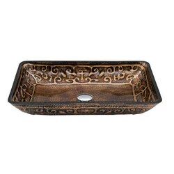 DAWN GVB86153-1 22-5/8 X 14-7/8 INCH RECTANGLE COPPER AND GOLD TEMPERED GLASS VESSEL SINK