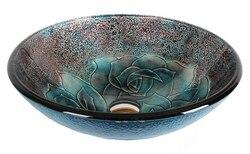 DAWN GVB81614 16-1/2 INCH ROUND BLUE TEMPERED GLASS VESSEL SINK