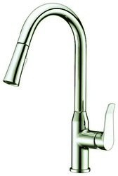DAWN AB53 3498BN SINGLE-LEVER PULL-DOWN SPRAY KITCHEN FAUCET IN BRUSHED NICKEL
