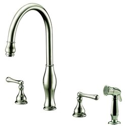 DAWN AB08 3156BN WIDESPREAD KITCHEN FAUCET WITH SIDE SPRAY IN BRUSHED NICKEL