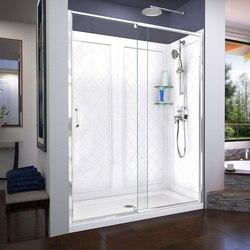 DREAMLINE DL-6228 FLEX 32 D X 60 W X 76 3/4 H INCH SEMI-FRAMELESS SHOWER DOOR WITH DRAIN BASE AND BACKWALLS