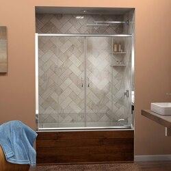 DREAMLINE SHDR-1160586 VISIONS 56-60 W X 58 H FRAMELESS SLIDING TUB DOOR