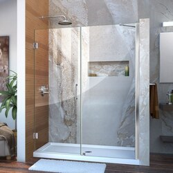 DREAMLINE SHDR-20577210 UNIDOOR 57-58 W X 72 H FRAMELESS HINGED SHOWER DOOR WITH SUPPORT ARM, CLEAR GLASS