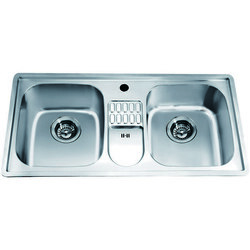 DAWN CH365 38 INCH TOP MOUNT EQUAL DOUBLE BOWL SINK WITH INTEGRAL DRAIN BOARD AND ONE PRE-CUT FAUCET HOLE