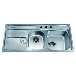 DAWN CH366 45 INCH TOP MOUNT DOUBLE BOWL SINK WITH INTEGRAL DRAIN BOARD AND THREE PRE-CUT FAUCET HOLES - LARGE BOWL ON RIGHT