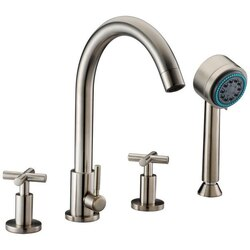 DAWN D03 2503BN TUB FILLER WITH PERSONAL HANDSHOWER AND CROSS HANDLES IN BRUSHED NICKEL