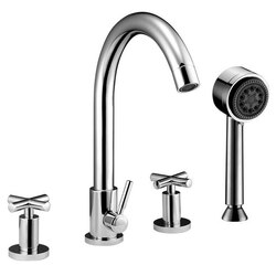 DAWN D03 2503C TUB FILLER WITH PERSONAL HANDSHOWER AND CROSS HANDLES IN CHROME