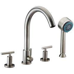 DAWN D16 2503BN TUB FILLER WITH PERSONAL HANDSHOWER AND LEVER HANDLES IN BRUSHED NICKEL