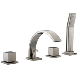 DAWN D78 2262BN TUB FILLER WITH PERSONAL HANDSHOWER, SQUARE HANDLES AND SHEETFLOW SPOUT IN BRUSHED NICKEL