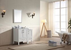DAWN AARO-6001 ROSS SERIES 61-13/16 INCH FREE STANDING DOUBLE VANITY SET IN WHITE