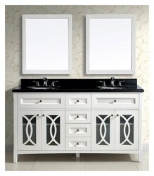 DAWN AACS-6001 61 INCH FREE STANDING DOUBLE VANITY SET IN WHITE