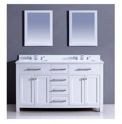 DAWN AAMS-6001 60 INCH FREE STANDING VANITY SET IN PURE WHITE