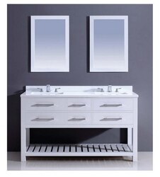 DAWN AAPS-6001 60 INCH FREE STANDING VANITY SET IN PURE WHITE