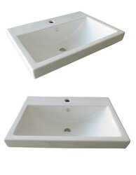 DAWN RAT241703-04 24 X 17 INCH WHITE CERAMIC LAVATORY SINK TOP WITH OVERFLOW