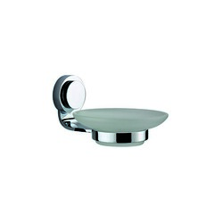 DAWN 9301S GLASS SOAP DISH WITH CIRCLE SERIES HOLDER IN SATIN NICKEL