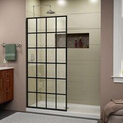 DREAMLINE SHDR-3234721-89 FRENCH LINEA TOULON 34 W X 72 H SINGLE PANEL FRAMELESS SHOWER DOOR OPEN ENTRY DESIGN IN SATIN BLACK