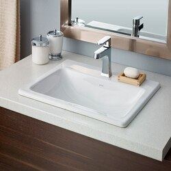 CHEVIOT 1186-WH-1 MANHATTAN 19-3/4 INCH DROP-IN BASIN WITH SINGLE HOLE DRILLING IN WHITE