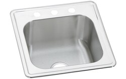 ELKAY ESE2020102 CELEBRITY STAINLESS STEEL 20 L X 20 W X 10-1/8 D TOP MOUNT LAUNDRY/UTILITY SINK, 2 FAUCET HOLES