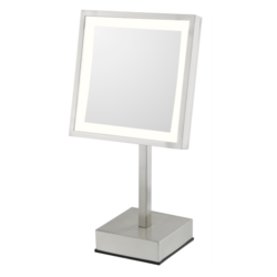 APTATIONS 713-55-73 KIMBALL & YOUNG 8 INCH FREE STANDING SINGLE SIDED LED LIGHTED MAGNIFIED MAKEUP MIRROR IN BRUSHED NICKEL