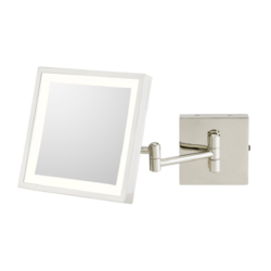 APTATIONS 913-55-83 KIMBALL & YOUNG 8 INCH WALL MOUNT SINGLE SIDED LED LIGHTED MAGNIFIED MAKEUP MIRROR IN POLISHED NICKEL