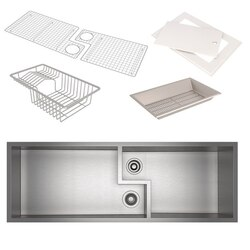 ROHL RUWKIT49162SB CULINARIO 51-5/8 INCH RECTANGULAR UNDERMOUNT DOUBLE BOWL KITCHEN SINK WITH ACCESSORIES IN BRUSHED STAINLESS STEEL