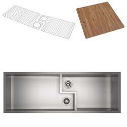 ROHL RUWKIT49161SB CULINARIO 51-5/8 INCH RECTANGULAR UNDERMOUNT DOUBLE BOWL KITCHEN SINK WITH CUTTING BOARD IN BRUSHED STAINLESS STEEL