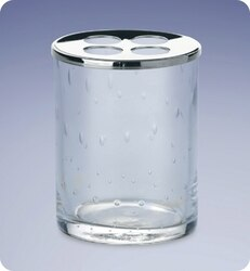 WINDISCH 831252 ADDITION ACQUA ROUND BUBBLED CRYSTAL GLASS TOOTHBRUSH HOLDER