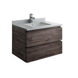 FRESCA FCB3130ACA-CWH-U FORMOSA 30 INCH WALL HUNG MODERN BATHROOM CABINET WITH TOP AND SINK IN ACACIA WOOD FINISH