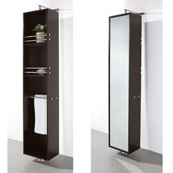 WYNDHAM COLLECTION WCSB802ES CLAIRE 13 3/4 INCH ROTATING FLOOR CABINET WITH MIRROR