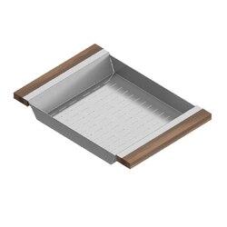 JULIEN 205229 COLANDER 12 X 17 INCH WITH WALNUT HANDLES FOR 16 INCH SINK IN WALNUT