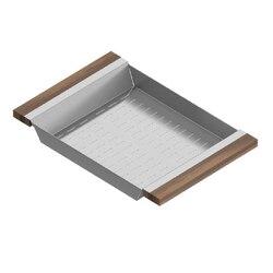 JULIEN 205230 COLANDER 12 X 18 INCH WITH WALNUT HANDLES FOR 17 INCH SINK IN WALNUT