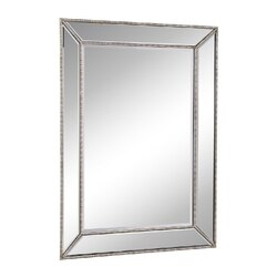 CHANS FURNITURE MR-2375 32 INCH RAMSEY WALL MIRROR WITH BEADED DETAILS IN SILVER FINISH