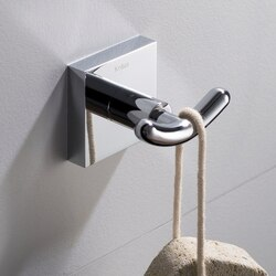 KRAUS KEA-17702CH VENTUS WALL MOUNT BATHROOM ROBE AND TOWEL DOUBLE HOOK IN CHROME FINISH