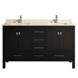 EVIVA TVN414-60X18 LONDON 60 INCH X 18 INCH TRANSITIONAL BATHROOM VANITY WITH MARBLE TOP AND DOUBLE PORCELAIN SINKS