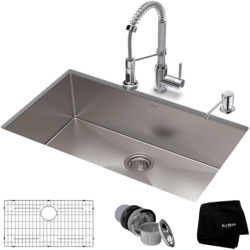 KRAUS KHU100-32-1610-53 32 INCH STAINLESS STEEL KITCHEN SINK AND COMMERCIAL PULL-DOWN KITCHEN FAUCET SET