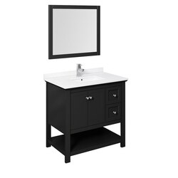 FRESCA FVN2336BL MANCHESTER 36 INCH BLACK TRADITIONAL BATHROOM VANITY WITH MIRROR