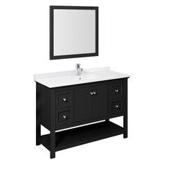 FRESCA FVN2348BL MANCHESTER 48 INCH BLACK TRADITIONAL BATHROOM VANITY WITH MIRROR