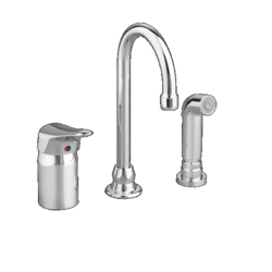 AMERICAN STANDARD 6114.301.002 MONTERREY SINGLE CONTROL GOOSENECK KITCHEN FAUCET WITH REMOTE VALVE AND MATCHED SPRAY IN POLISHED CHROME, 1.5 GPM