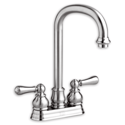AMERICAN STANDARD 2770.732F15.002 HAMPTON 2-HANDLE BAR SINK FAUCET WITH BRASS GOOSENECK SPOUT AND METAL LEVER HANDLES  IN POLISHED CHROME, 1.5 GPM