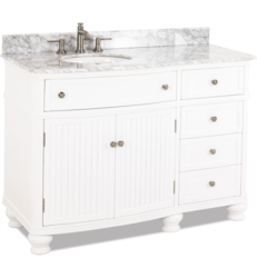 HARDWARE RESOURCES VAN106-48-T-MW COMPTON WALNUT 48 INCH SINGLE VANITY WITH PREASSEMBLED TOP AND BOWL IN WHITE