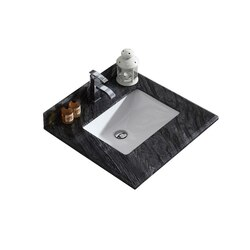 LAVIVA 313SQ1H-24-BW BLACK WOOD COUNTERTOP 24 INCH SINGLE HOLE WITH RECTANGLE SINK
