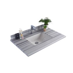 LAVIVA 313SQ1H-36-WS WHITE STRIPES COUNTERTOP 36 INCH SINGLE HOLE WITH RECTANGLE SINK