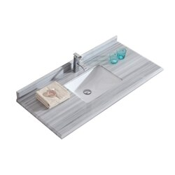 LAVIVA 313SQ1H-48-WS WHITE STRIPES COUNTERTOP 48 INCH SINGLE HOLE WITH RECTANGLE SINK