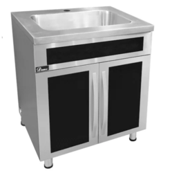 DAWN SSC3036G STAINLESS STEEL SINK BASE CABINET WITH BUILT-IN GARBAGE CAN WITH BLACK TEMPERED GLASS PANELS