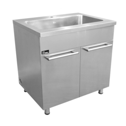 DAWN SSC3636 STAINLESS STEEL SINK BASE CABINET WITH BUILT-IN GARBAGE CAN AND CUTTING BOARD WITH RACK