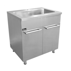 DAWN SSC3336 STAINLESS STEEL SINK BASE CABINET WITH BUILT-IN GARBAGE CAN AND CUTTING BOARD WITH RACK