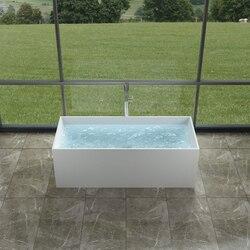 INFURNITURE WS-BT-TCS107-G 66 INCH POLYSTONE RECTANGULAR FREE STANDING BATHTUB IN GLOSSY WHITE